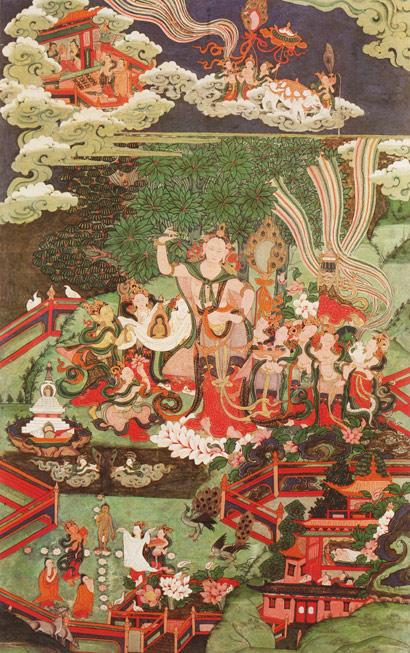 Painting of the birth scene of Lord Buddha in Lumbini