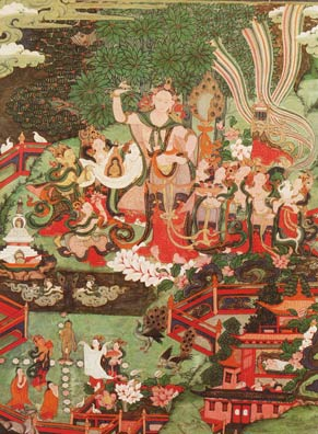 Painting of the birth scene of Lord Buddha in Lumbini