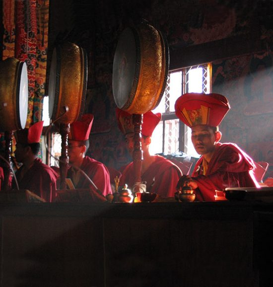 Monks during puja