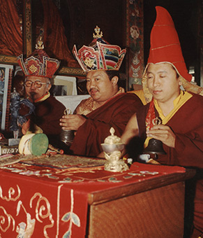 Tulku Urgyen Rinpoche, Chokling Rinpoche and Chokyi Nyima Rinpoche at Nagi Gompa nunnery