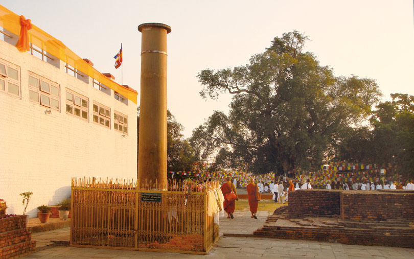 Pillar erected by King Asoka next to where Lord Buddha was born