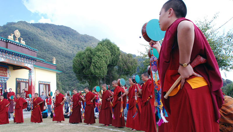 Nuns of Nagi Gompa performing the Chod dance in front of the main temple